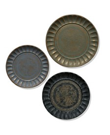 StyleCraft Assorted Antiqued Metal Finishes Traditional Set of Three Metal Trays