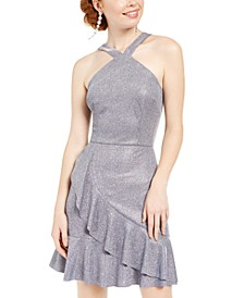 Juniors' Metallic Ruffle Halter Dress