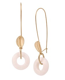 Robert Lee Morris Soho Rose Quartz Ring Long Drop Earrings