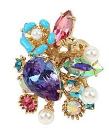 Betsey Johnson Mermaid Mixed Stone Cluster Ring