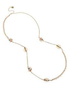 Betsey Johnson Shell Station Mixed Long Necklace