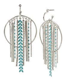 Mixed Chain Fringe Gypsy Hoop Earrings