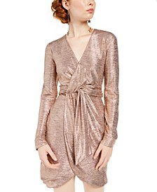 Juniors' Metallic Twist-Front Dress