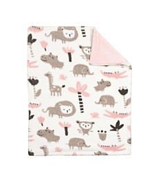 Baby's First by Nemcor Baby Blanket, Pink Printed Jungle Animal