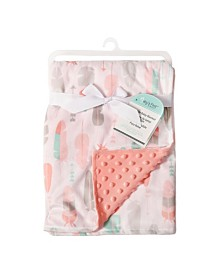 Baby's First by Nemcor Reversible Baby Blanket, Pink Feathers
