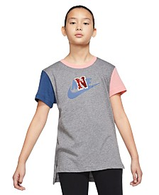 Nike Big Girls Colorblocked Cotton T-Shirt