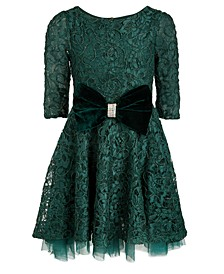 Big Girls Lace & Velvet Bow Skater Dress