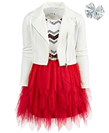 Big Girls 3-Pc. Moto Jacket, Sequined Fairy Dress & Sequined Bow Set