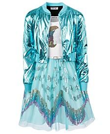 Big Girls 2-Pc. Metallic Bomber Jacket & Unicorn Dress Set