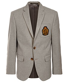 Big Boys Gray Solid Sport Coat with Faux-Suede Elbow Patches