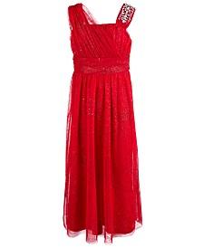 Sequin Hearts Big Girls Rhinestone Trim One Shoulder Glitter Dress