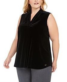 Plus Size V-Neck Velvet Blouse