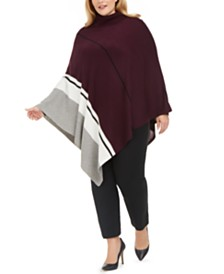 Calvin Klein Plus Size Asymmetrical Colorblocked Poncho