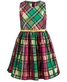 Big Girls Belted Plaid Taffeta Dress