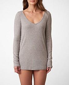 Dreamer Ribbed V-Neck Lounge Shirt, Online Only
