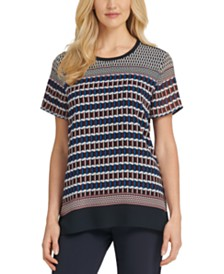 DKNY Printed Crewneck Top