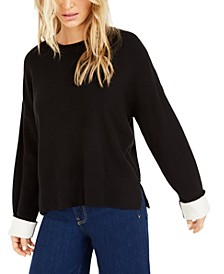 Becca Tilley x Contrast-Cuff Crewneck Sweater, Created for Macy's