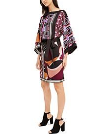 Printed Boat-Neck Kimono Dress