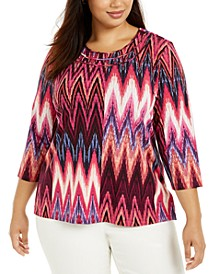 Plus Size Bright Idea Ikat-Print Top