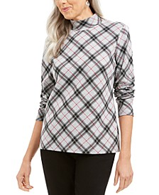 Petite Plaid Mock Neck Top, Created For Macy's