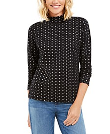 Snowflake Dot Printed Mock-Neck Top, Created for Macy's