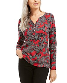 Dotted Scrolls Henley Top, Created For Macy's