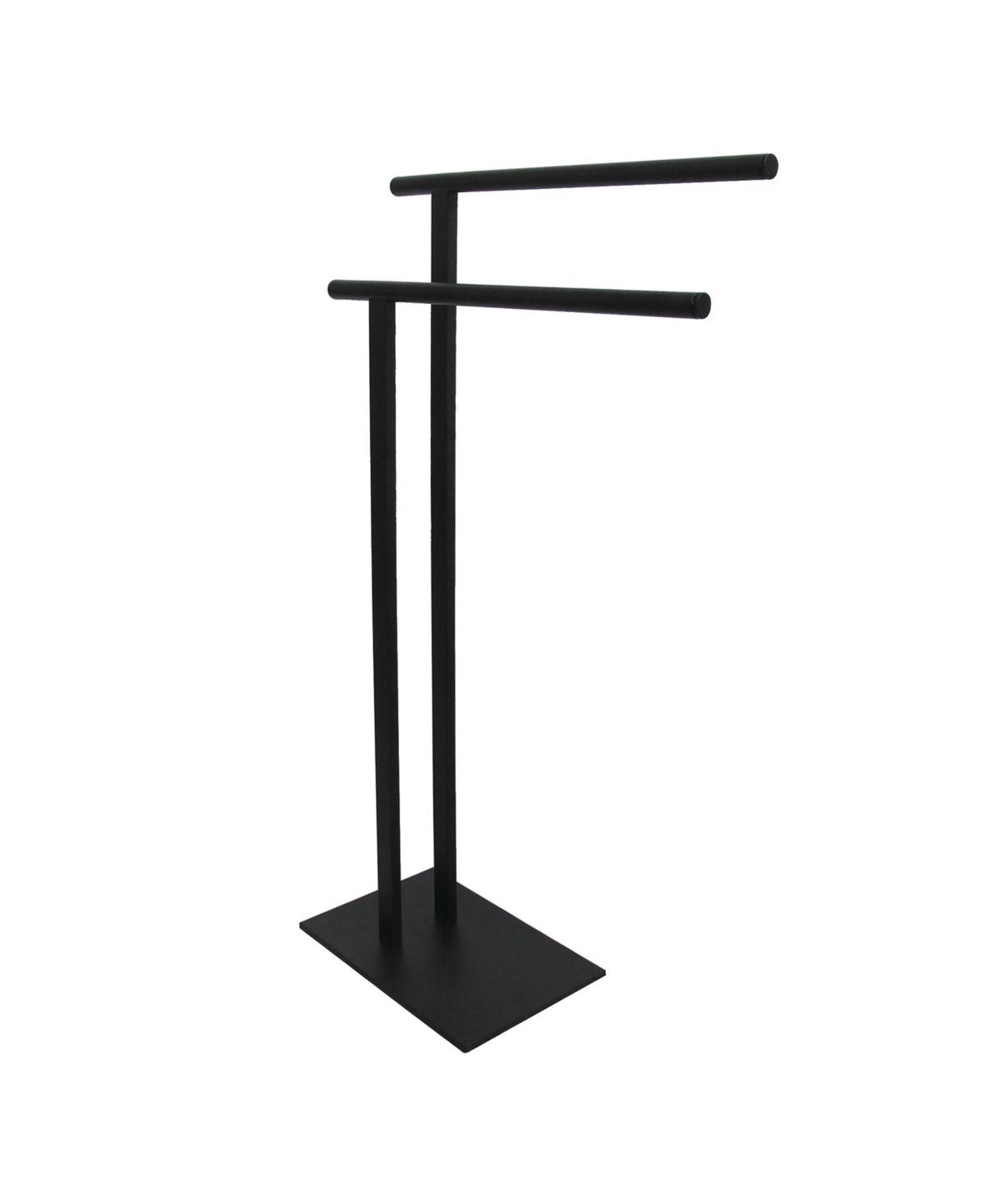 Kingston Brass Double L Shape Pedestal Towel Holder in Matte Black Bedding