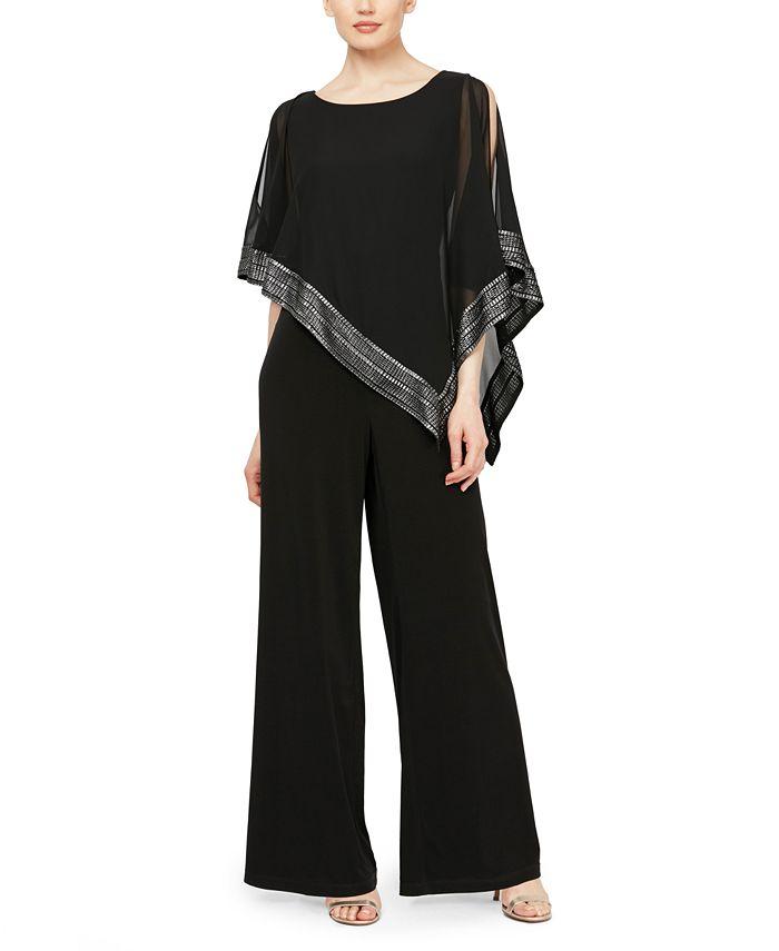 SL Fashions - Asymmetrical Cape Jumpsuit