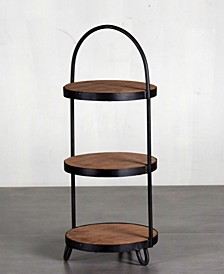 Villa 2 Industry Cake Plate 3 Tier Cake Stand in Weathered Vintage-Inspired Finish with Handle