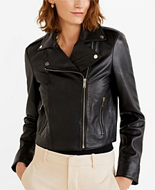 Lapelled Leather Biker Jacket