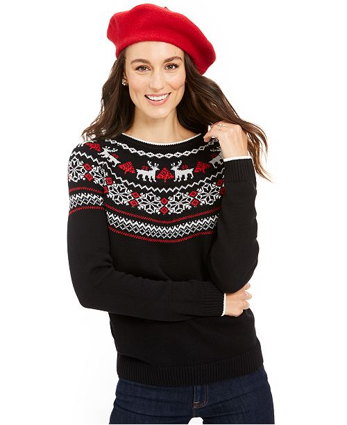 Charter Club Metallic Fair Isle Family Sweater, Created For Macy's