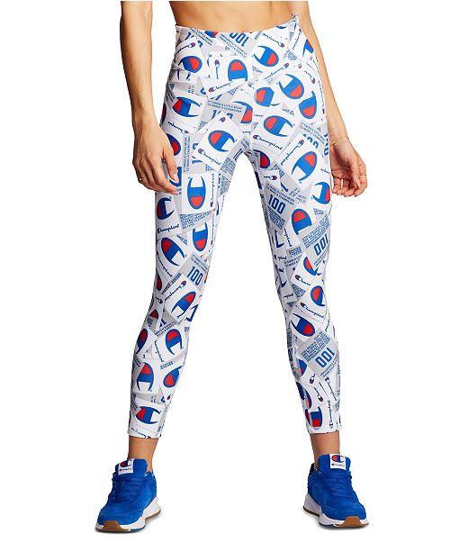 Champion Women S Logo Print High Rise Leggings Reviews Women Macy S
