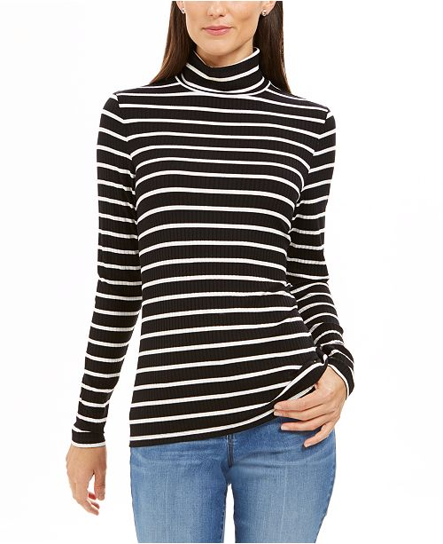Charter Club Striped Turtleneck Top, Created For Macy's