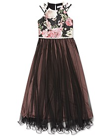 Big Girls Floral-Print Mesh Maxi Dress