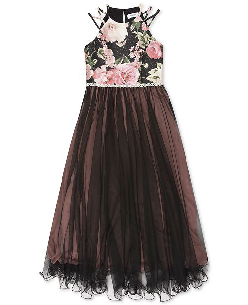 Speechless Big Girls Floral-Print Mesh Maxi Dress