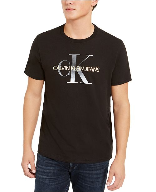 Calvin Klein Jeans Men's Metallic Monogram Logo Graphic T-Shirt