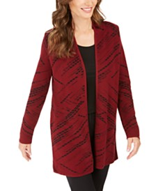 JM Collection Jacquard Diagonal-Print Cardigan, Created For Macy's