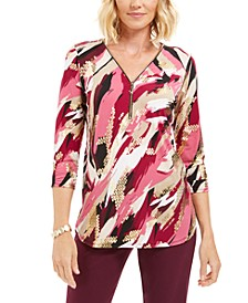 Zip Print Top, Created for Macy's
