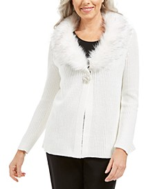 Faux-Fur Collar & Brooch Cardigan, Created For Macy's