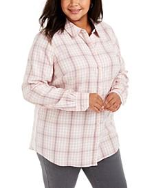 Plus Size Ilanna Cotton Plaid Button-Up Shirt, Created for Macy's