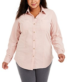 Plus Size Cotton Corduroy Shirt, Created for Macy's