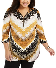 Plus Size Printed Zip-Neck Tunic, Created For Macy's