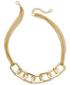"Link & Multi-Chain Collar Necklace, 18"" + 3"" extender, Created For Macy's"