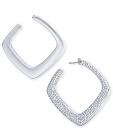 Silver-Tone Textured Front Square Hoop Earrings, Created For Macy's