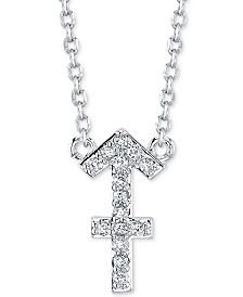 "Unwritten Cubic Zirconia Sagittarius Zodiac Pendant Necklace in Silver-Plate, 16"" + 2"" extender"