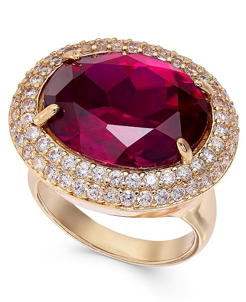 INC International Concepts INC Gold-Tone Pavé & Stone Statement Ring, Created For Macy's