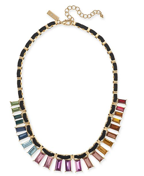 "INC International Concepts I.N.C. Gold-Tone Multicolor Crystal Velvet-Woven Statement Necklace, 18"" + 3"" extender, Created For Macy's"