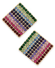 INC Gold-Tone Multicolor Pavé Square Stud Earrings, Created For Macy's
