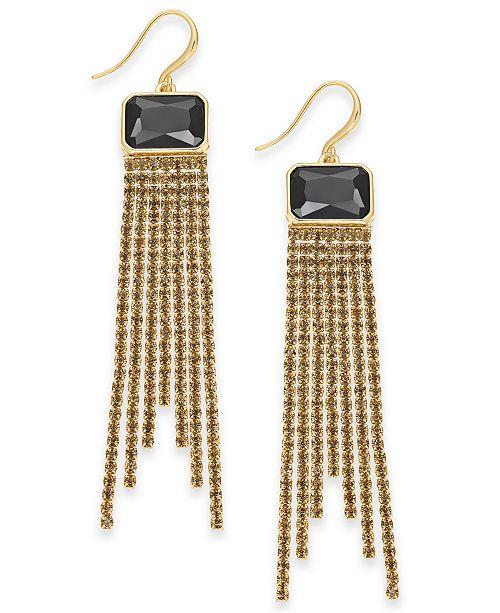 INC International Concepts INC Gold-Tone Multi-Rhinestone Fringe Linear Drop Earrings, Created For Macy's