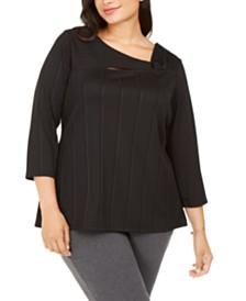 Alfani Plus Size Asymmetrical Twist Top, Created For Macy's